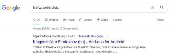 Firefox webáruház találat a Google-ben...
